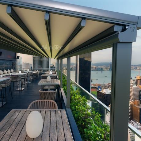 Aluminum Retractable PVC Pergola Fabric Roof. Waterproof ...