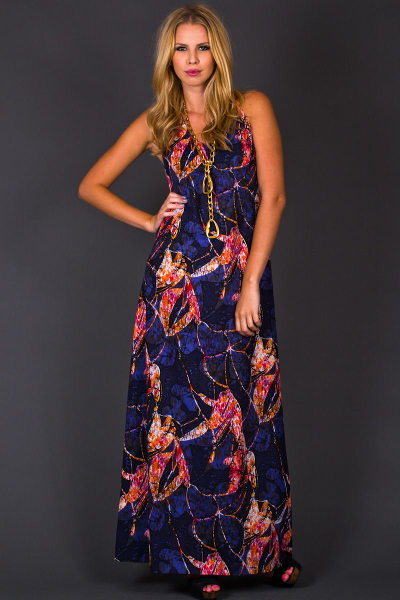 I love a great maxi vintage s style abstract print racer back