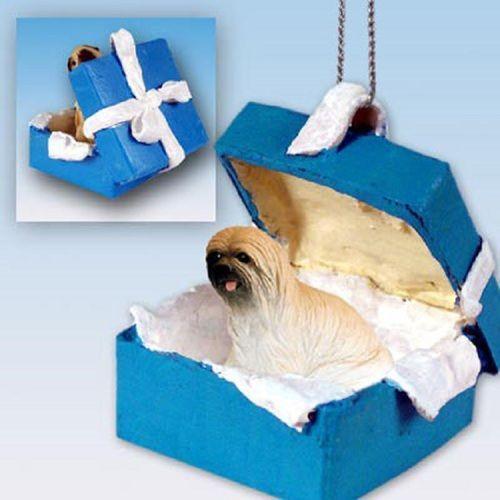 Lhasa Apso Brown Dog Blue Gift Box Holiday Ornament