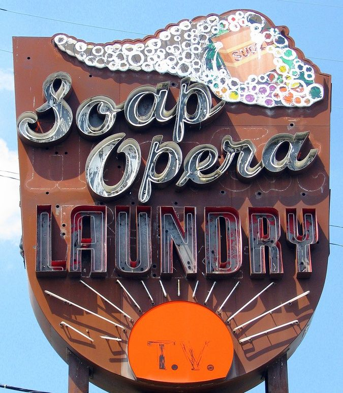 Soap Opera Laundry Old Neon Sign Vintage Neon Signs Old Neon