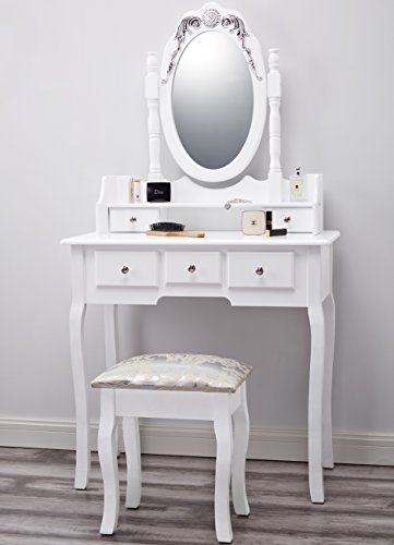 Dressing Table With Mirror And Stool: Capri AGTC0010 White Dressing Table With Stool & Mirror