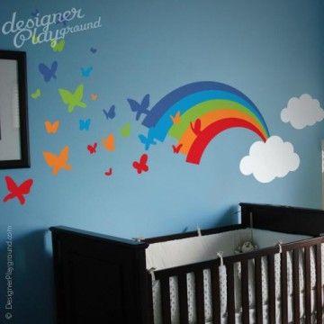 Rainbow Wall Decal Cloud Wall Decal Butterflies Decal Stars Wall Decals Removable Wall Decals Peel/&Stick Girls Bedroom Decor Kids Room Decal