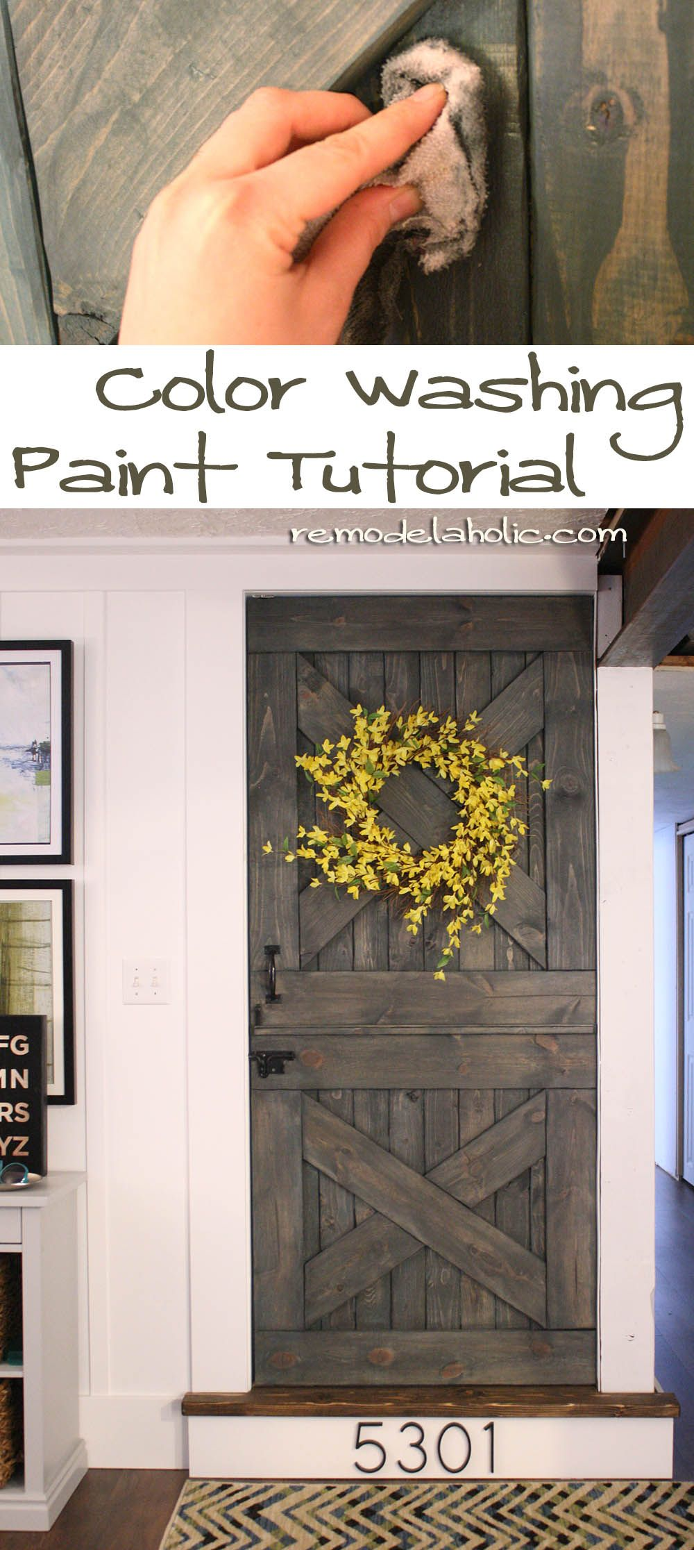Color Washing Paint Technique Remodelaholic Com Paint Color Wash Grey Barn Door Wood Working Projects Painting Techniques Diy Painting Painting