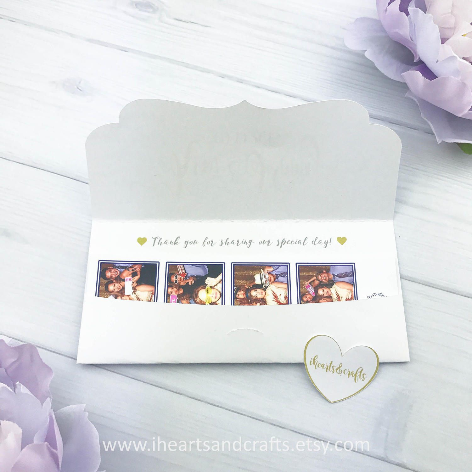 Personalized 2x6 photo booth envelope photo holder party favors ...