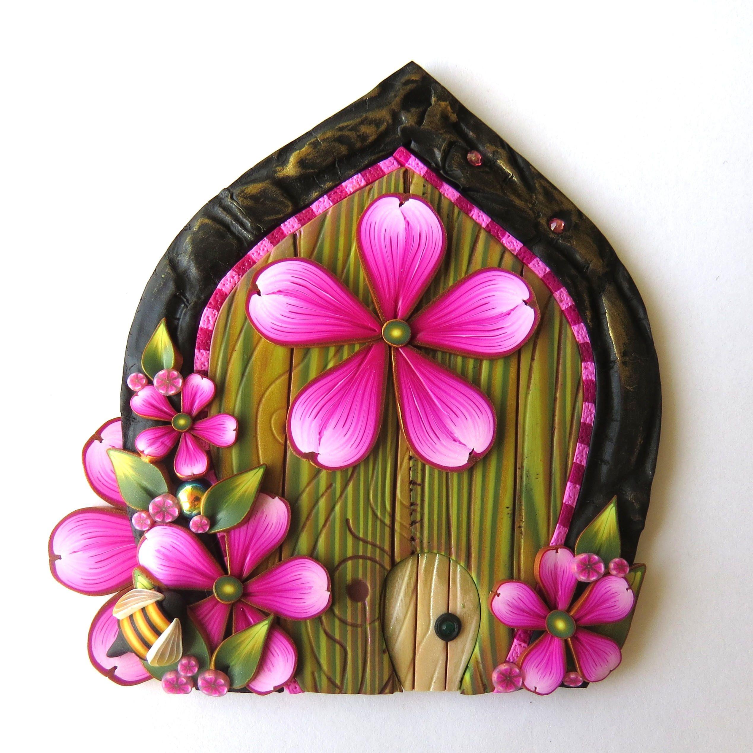 Pink Flower Fairy Door With A Pet Door Polymer Clay Miniature Fairy