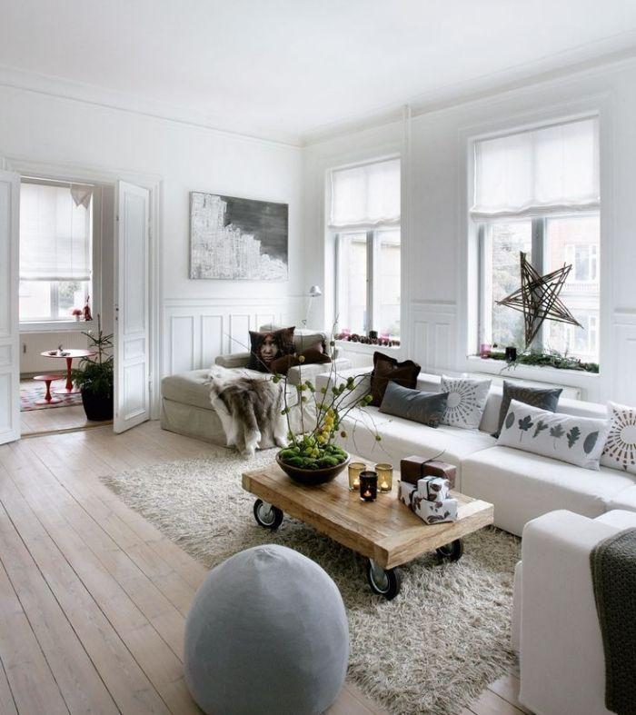 Weihnachtsdeko Ideen Skandinavisch Wohnzimmer Fensterdeko Holz Stern
