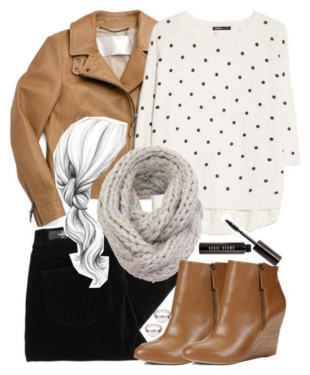 Lydia Inspired Outfit with a Scarf and a Leather Jacket by veterization on Polyvore featuring MANGO, Coach, Paige Denim, LOFT, Werkstatt:München and Bobbi Brown Cosmetics