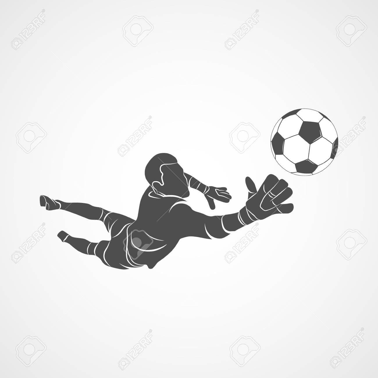 Silhouette Football Goalkeeper Is Jumping For The Ball Soccer Soccer Drawing Goalkeeper Soccer Tattoos