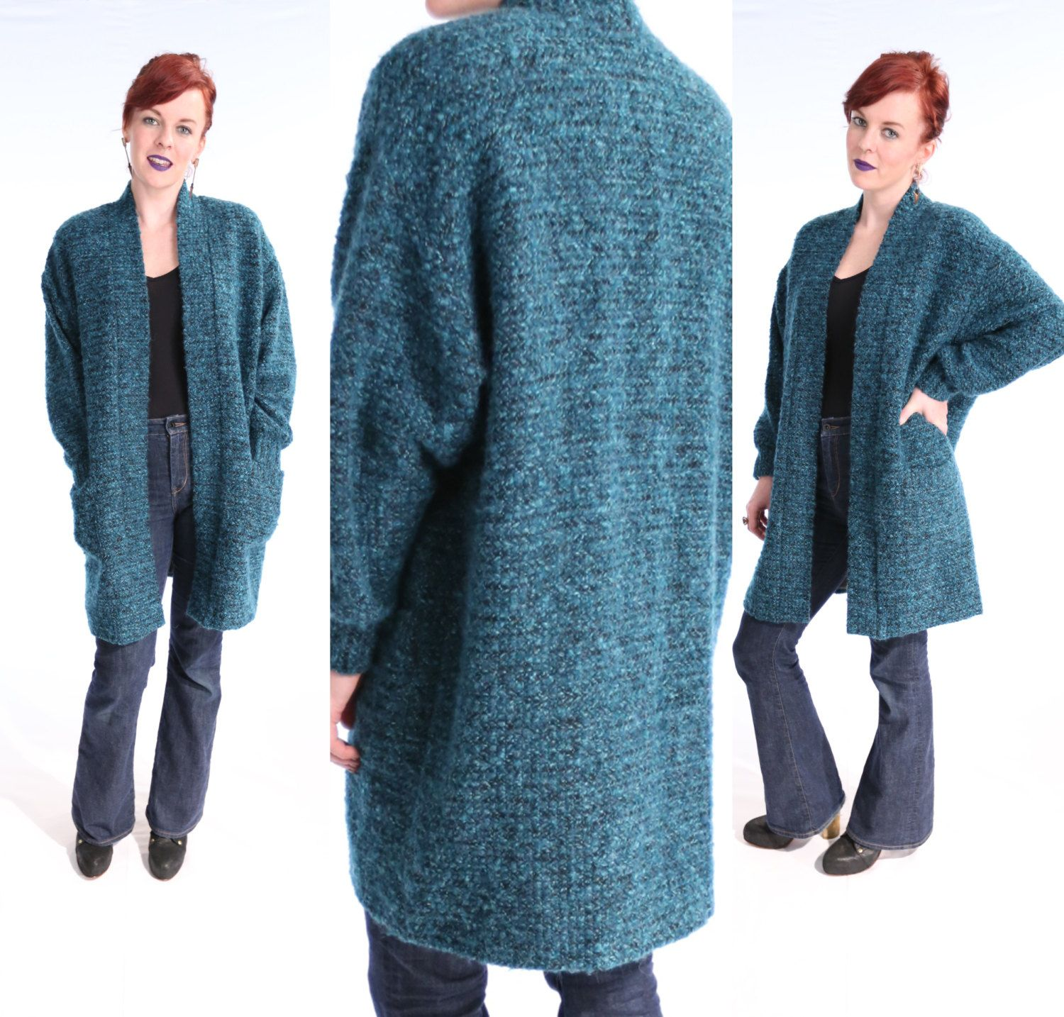 Vintage 1980's Long KNIT Cardigan Sweater Jacket TEAL Black Space ...