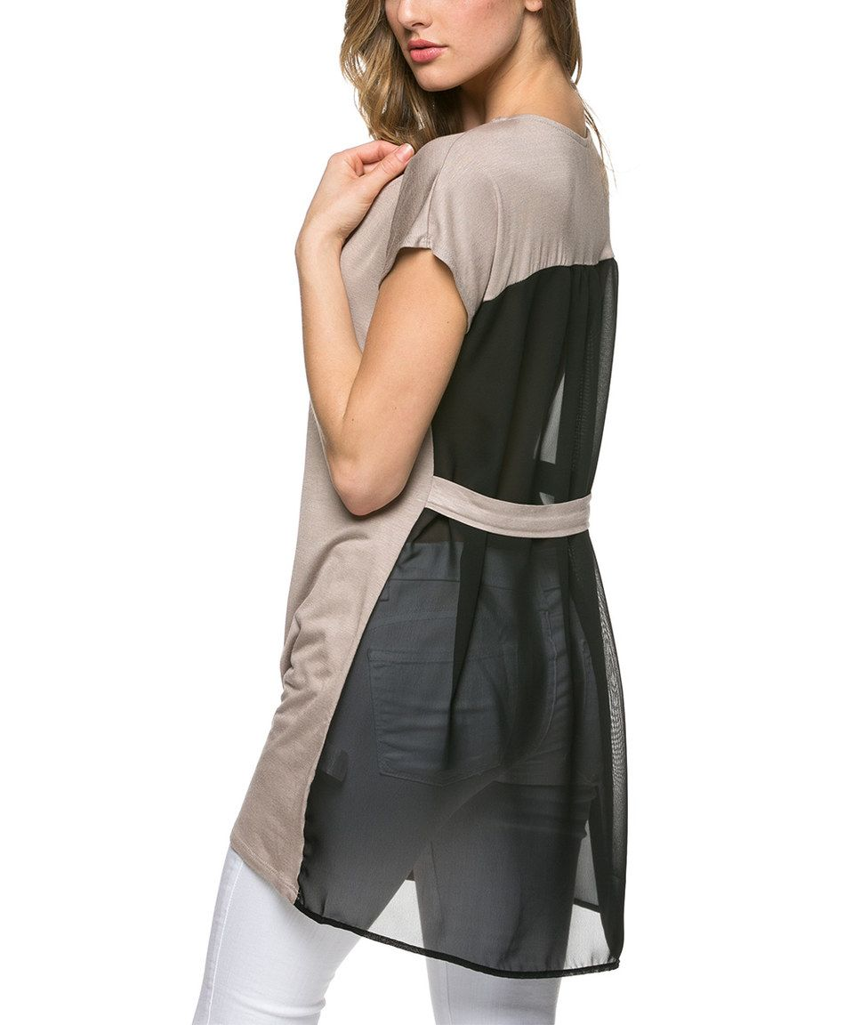 Look what I found on #zulily! Taupe Sheer Scoop Neck Tunic by Mittoshop #zulilyfinds