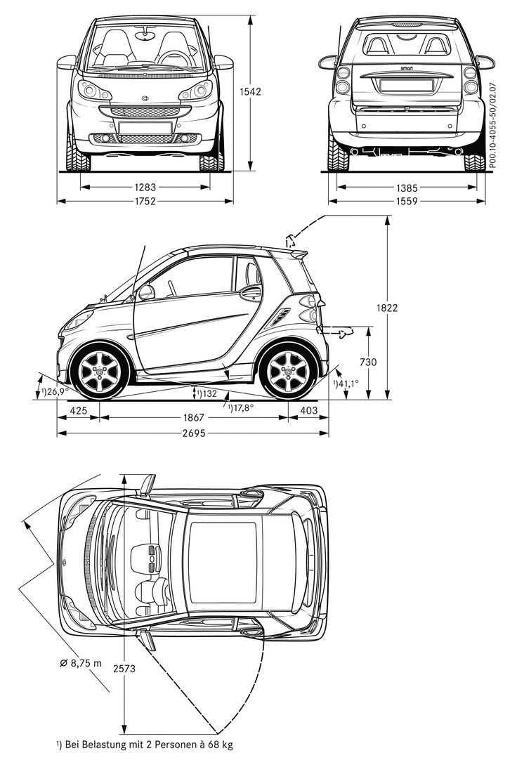 Smart Fortwo blueprint | The Motor Show | Pinterest | Smart fortwo ...