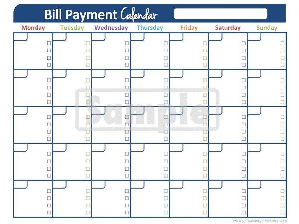 Bill Payment Calendar Printables For Organizing Your Finances