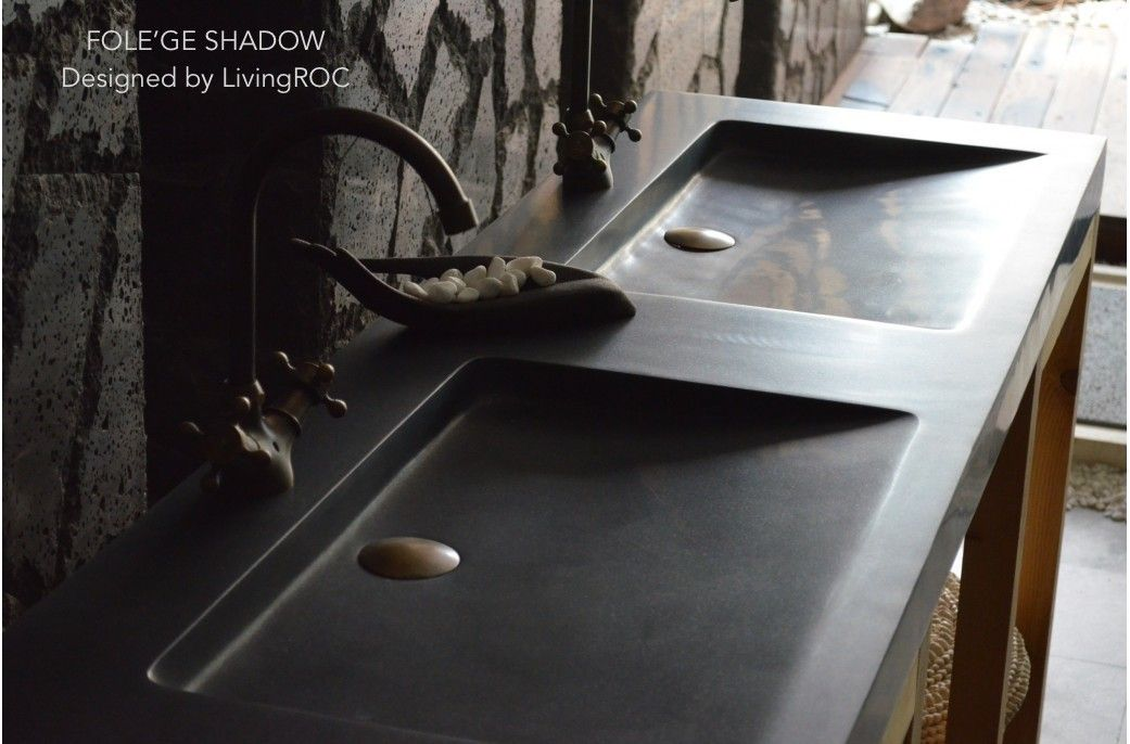 "Bathroom Sinks Double Basin 63""x19"" luxurious double trough black granite bathroom vessel sink"