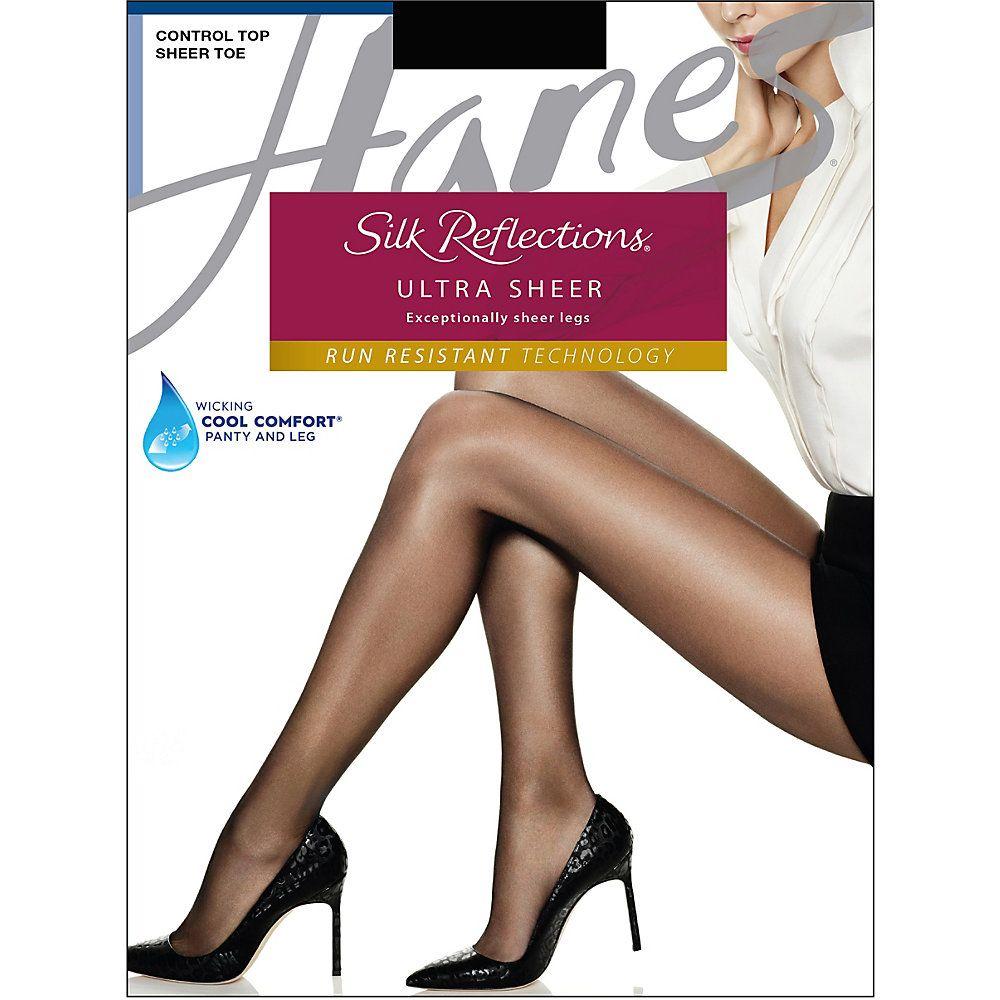 Hanes Silk Reflections Lasting Sheer Control Top Pantyhose Hosiery Sandalfoot