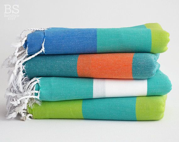 Bathstyle Turkish Beach Bath Towel Classic Peshtemal Green