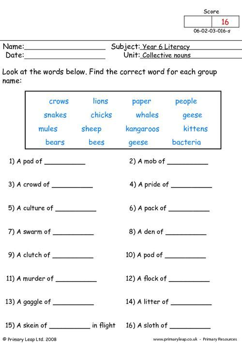 Primaryleap Co Uk Collective Nouns 2 Worksheet Nouns Worksheet