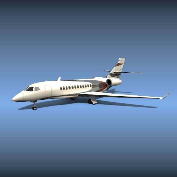 Dassault Falcon 5x Business Jet Private Jet 3d Model Aircraft