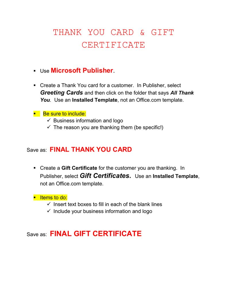 The Marvellous Thank You Card Gift Certificate Microsoft Publisher Intended Gift Certificate Template Certificate Templates Free Gift Certificate Template