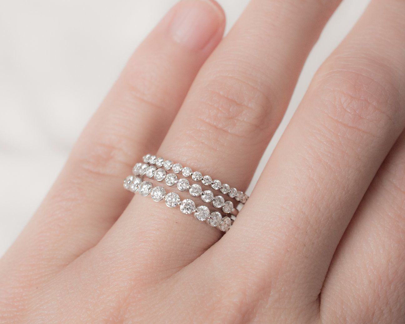 Ava Ring | Rings | Pinterest | Diamond bands, Solid gold and Round ...