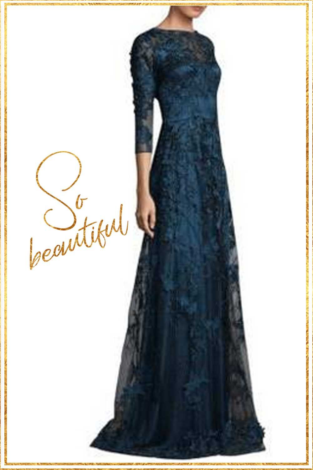 Floorlength overlay mesh gown in embroidered lace design roundneck
