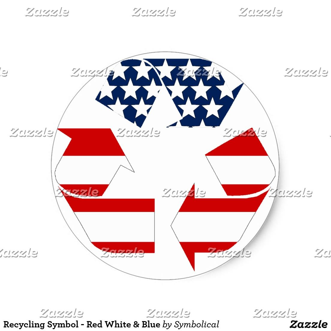 Recycling Symbol Red White Blue Classic Sticker