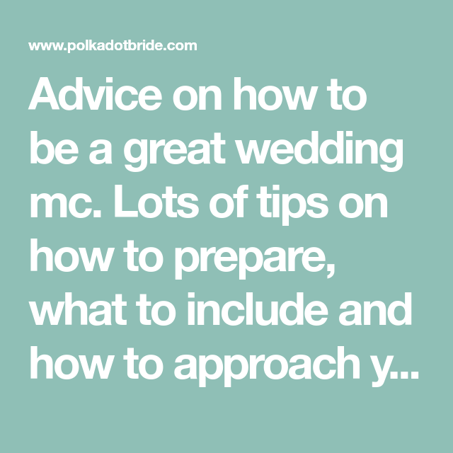 How To Be A Great Wedding MC