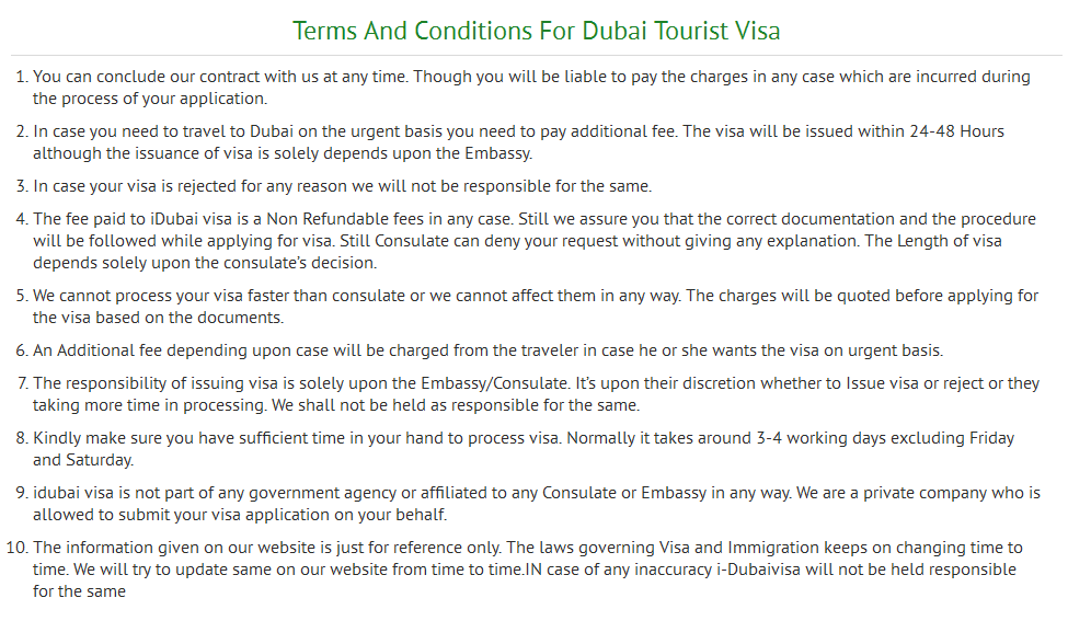 Kindly Read All Terms And Condition Before Applying For Dubai