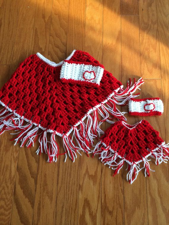 Beautiful red and white poncho for little girl with a matching set for doll. Just in time for Valentines Day!  Made from soft Red Heart 100%