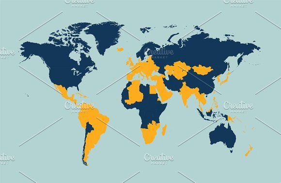 World map vector with borders by TeaGraphicDesign on creativemarket