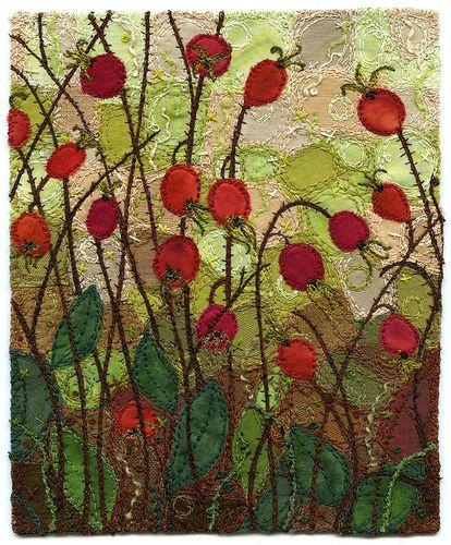 Rose Hips, fibre art by Kirsten's Fabric Art