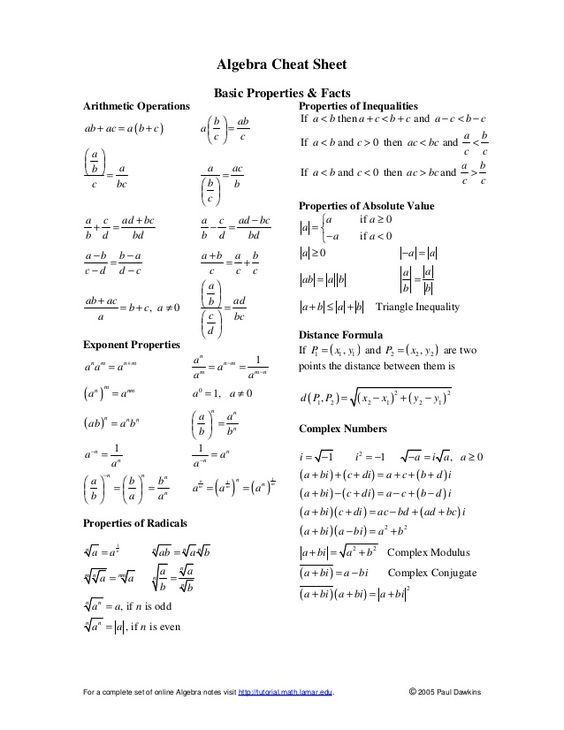 image result for college algebra formula sheet school pinterest