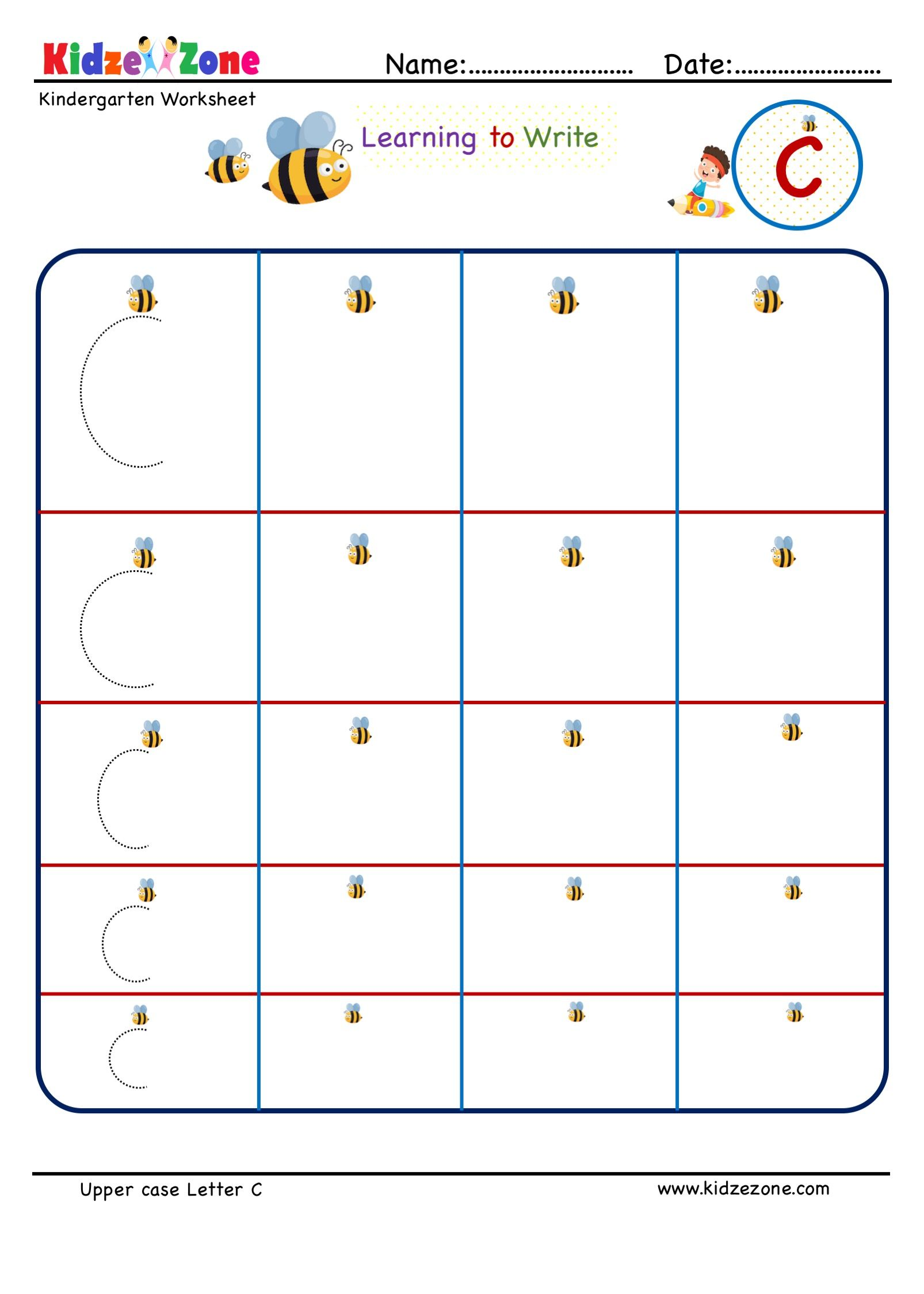 Kindergarten Letter C Writing Worksheet In