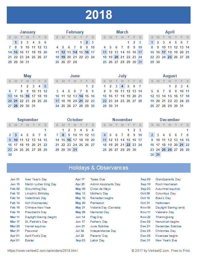 Download A Free Printable 2018 Calendar With Holidays From Vertex42