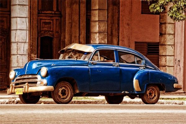 toile moderne vieille voiture blue havana cuba cuba pinterest vieilles voitures cuba. Black Bedroom Furniture Sets. Home Design Ideas