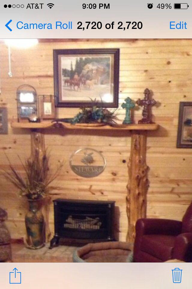 Rustic cedar mantel with posts