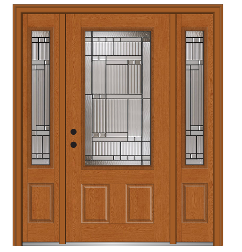 Shown Is A Kensington 34 Lite 2 Panel Fiberglass Oak Entry Door