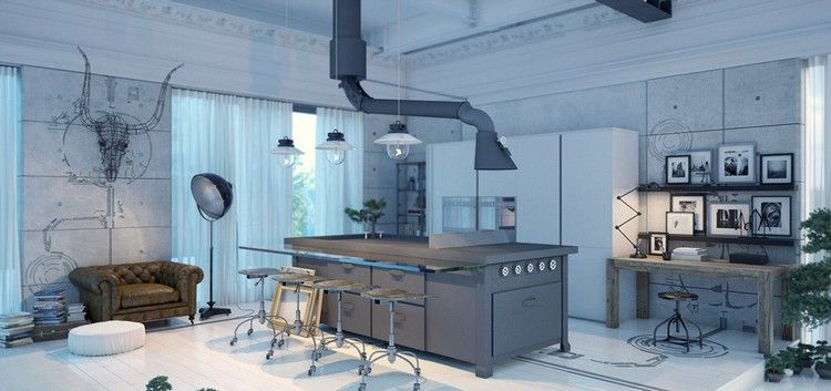 idées déco couleur grise dans la cuisine vintage, îlot central en ...
