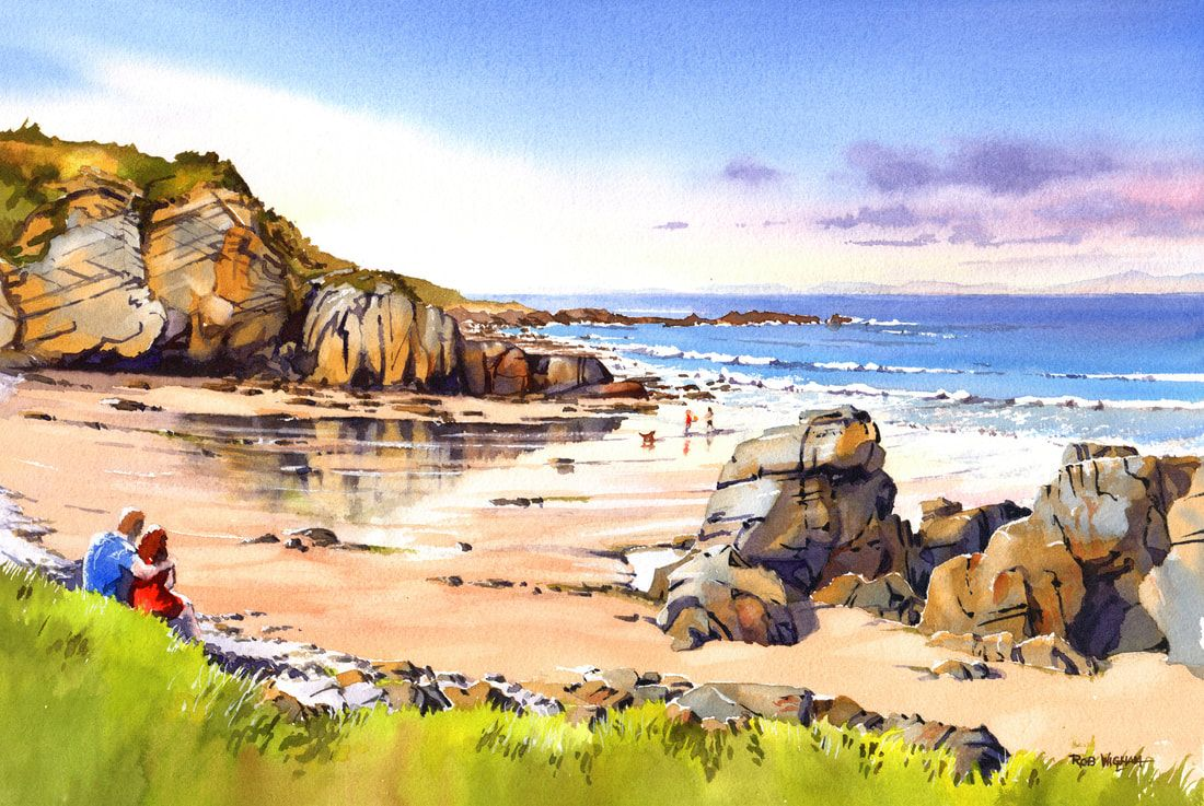 A Watercolour Painting Of Cove Bay Or Clashach Cove Near