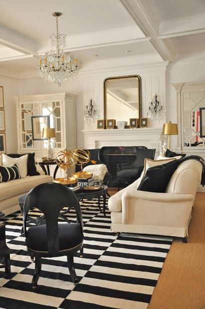 Chic Living Room.Black And White Rug, Gold Accents
