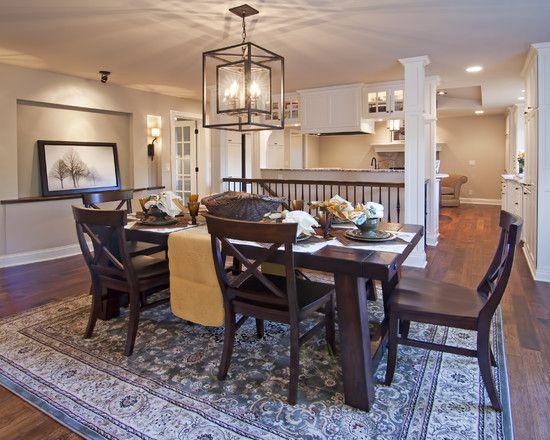 Traditional Dining Room Light Table With Dark Floors Design - dekovorschlage wohnzimmer essbereich
