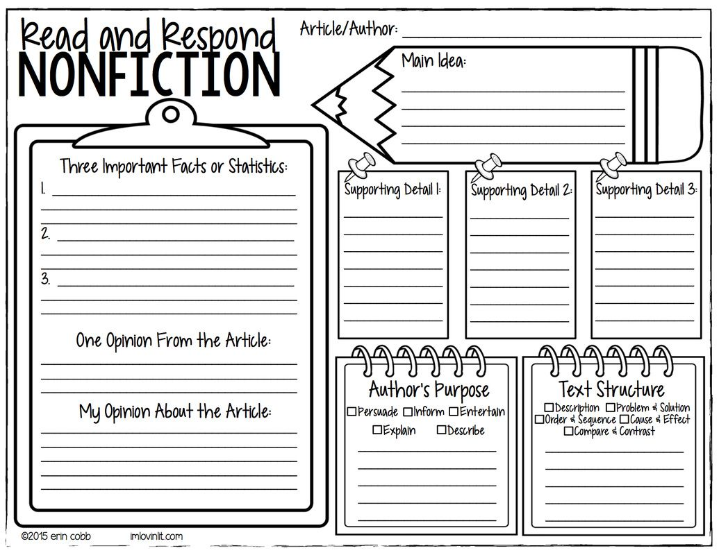 Image Result For Fiction Literature Response Template