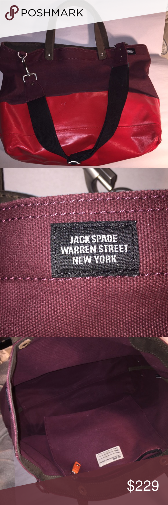 23dbe7daf JACK SPADE wax wear dipped canvas coal tote overall neat and clean,  includes shoulder/crossbody strap. One small scratch on red wax and a  couple of ...