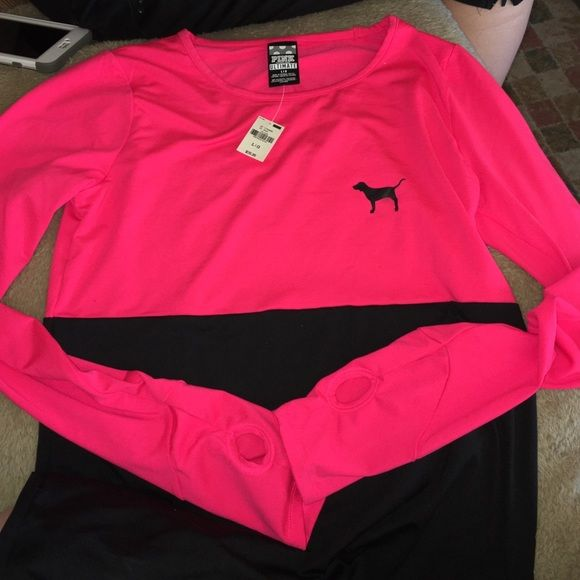 Victoria's Secret pink long sleeve top Long sleeve top from vs never worn its kinda like a silky stretchy material PINK Victoria's Secret Tops Tees - Long Sleeve