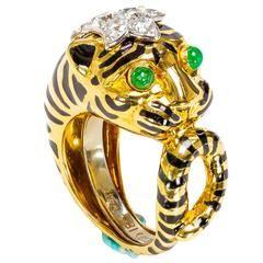 David Webb Emerald Diamond Gold Platinum Tiger Ring