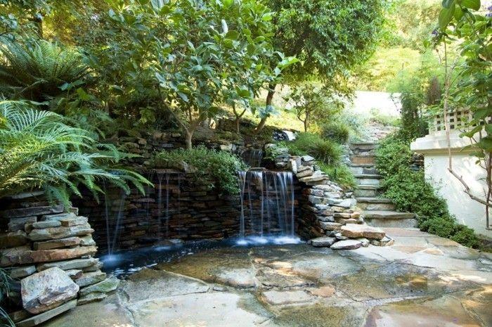 natursteine gartengestaltung wasserfall steinmauer bauen ...