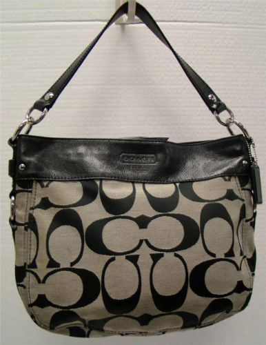 61ca4fa2258c7 Coach F14708 Zoe Black Gray Signature Jacquard Shoulder Bag Handbag Purse