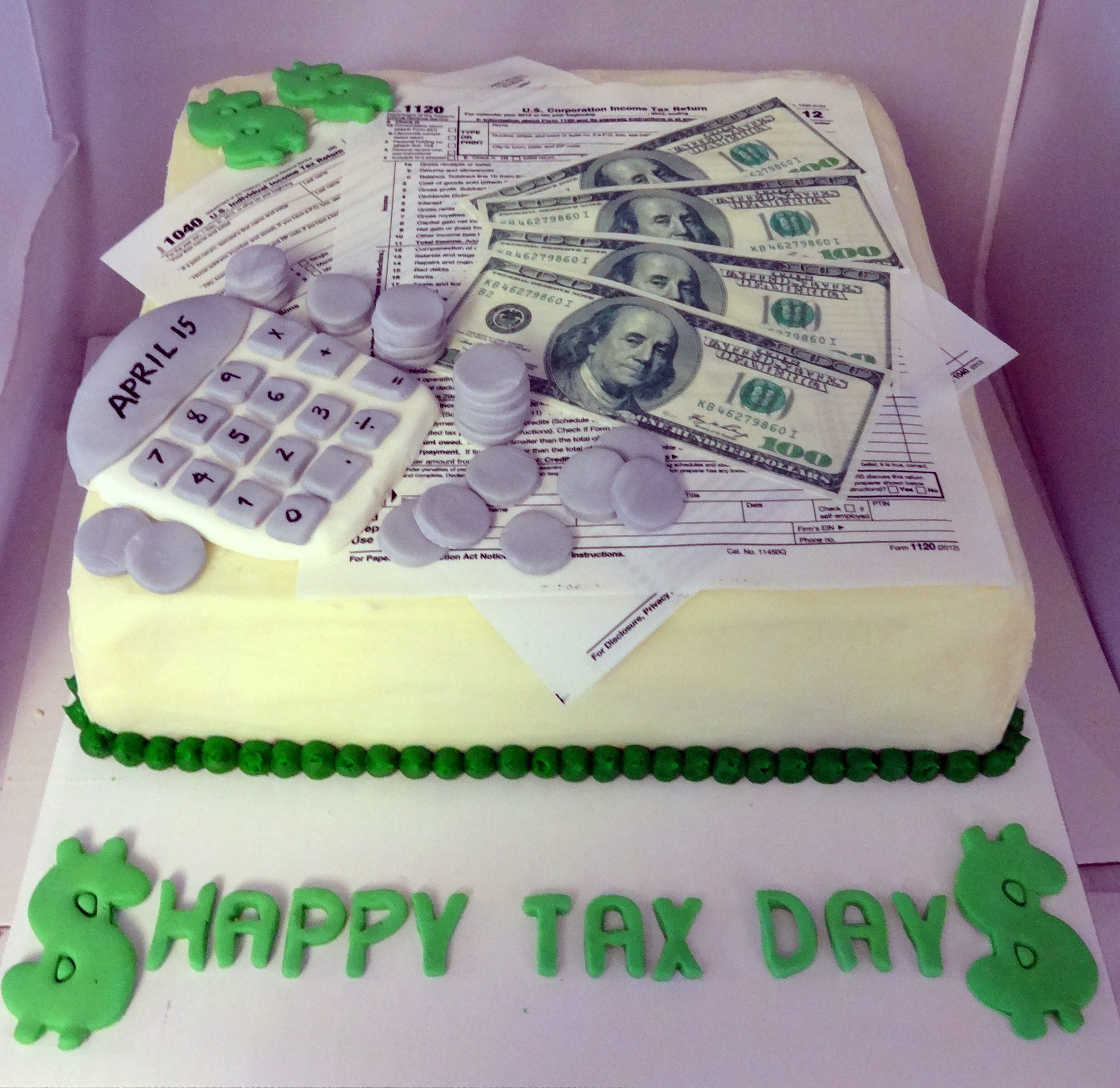 Money Tax Day Cake CPA Accountant Cherry on Top Delights