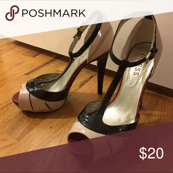 """Guess T-strap Black, Nude, Red 5"""" heels, Sz 7 Peep toe, t-strap, heels in new condition. Black and nude with a hint of red under the peep toe opening. Size 7. Guess Shoes Heels"""