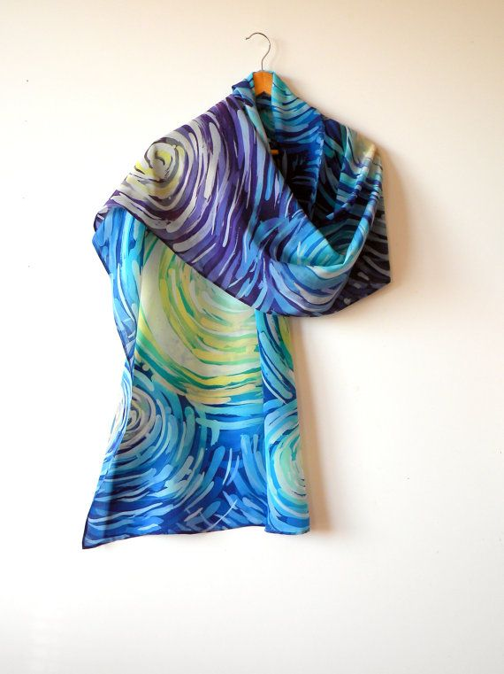 Hand painted silk scarf blue summer scarf womens by Allatai