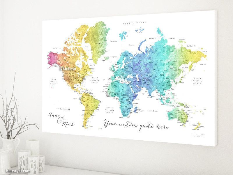 Custom quote world map canvas print colorful gradient watercolor custom quote world map canvas print colorful gradient watercolor world map with cities color gumiabroncs Gallery